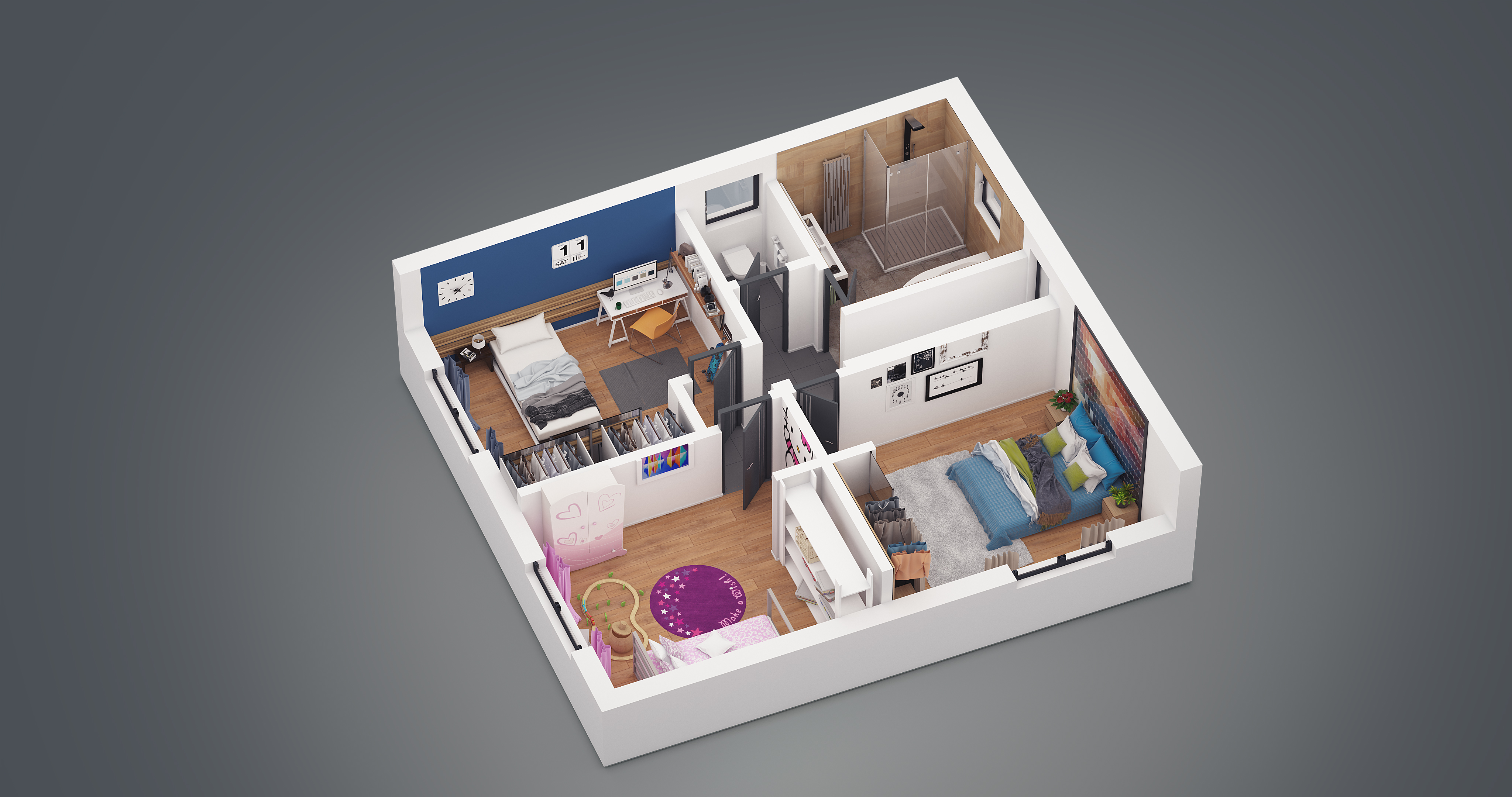 Prestations 3d pour constructeurs de maisons individuelles for Plan 3d chambre