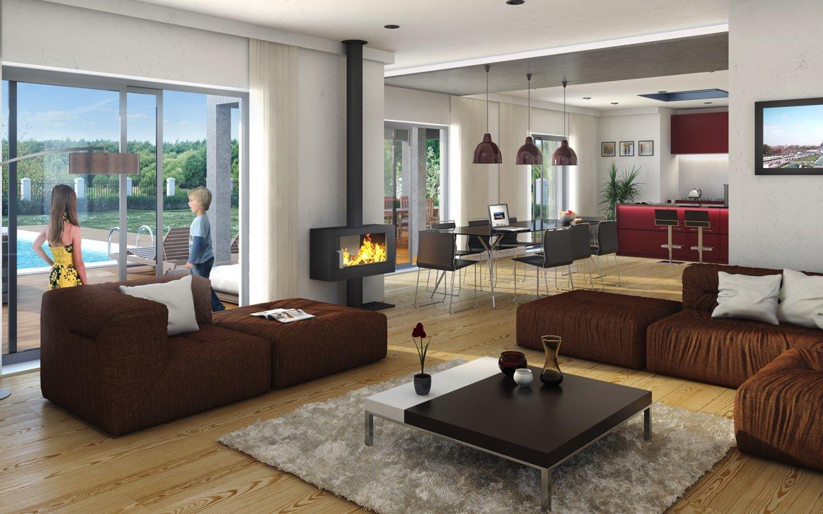 ▷ Perspectives 3D Intérieur Appartement Maison - Visuel Salon ...