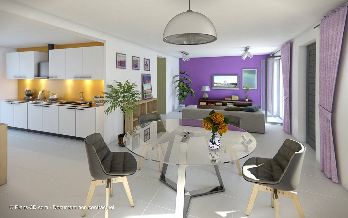 Perspectives 3d int rieur appartement maison visuel for Plan interieur maison en d