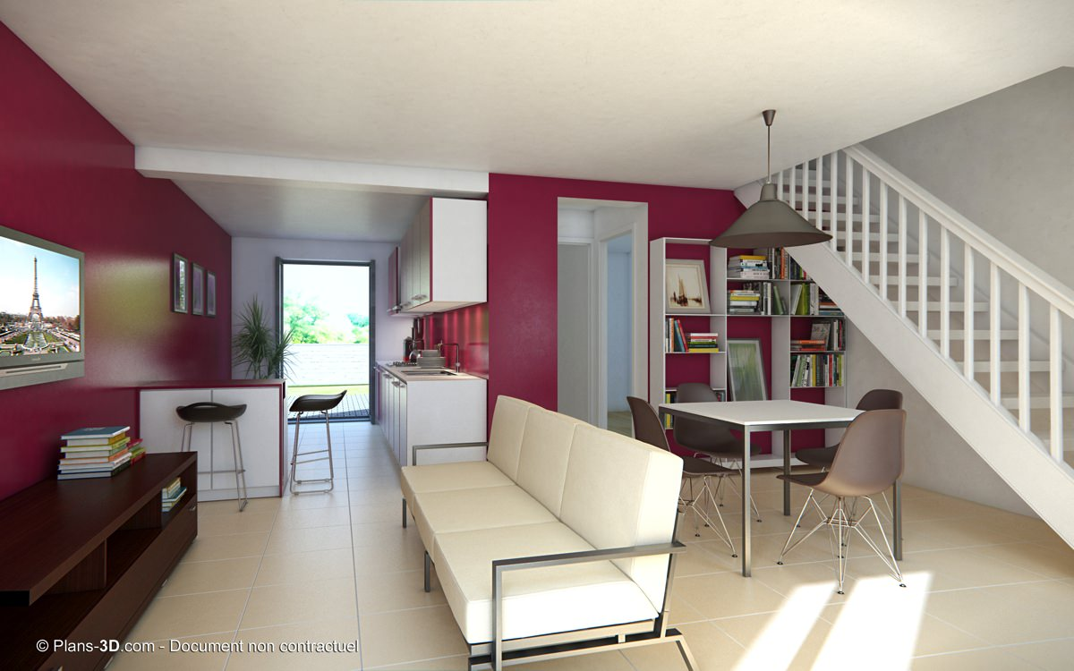 Perspectives 3d int rieur appartement maison visuel for Maison en 3d