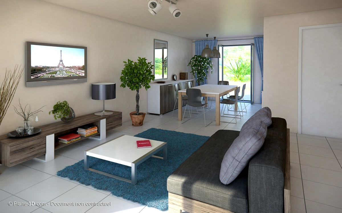 Perspectives 3d int rieur appartement maison visuel for Maison interieur 3d