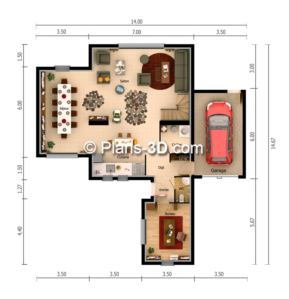 R alisation plan appartement 3d plan maison 3d plans for Maison plan 3d