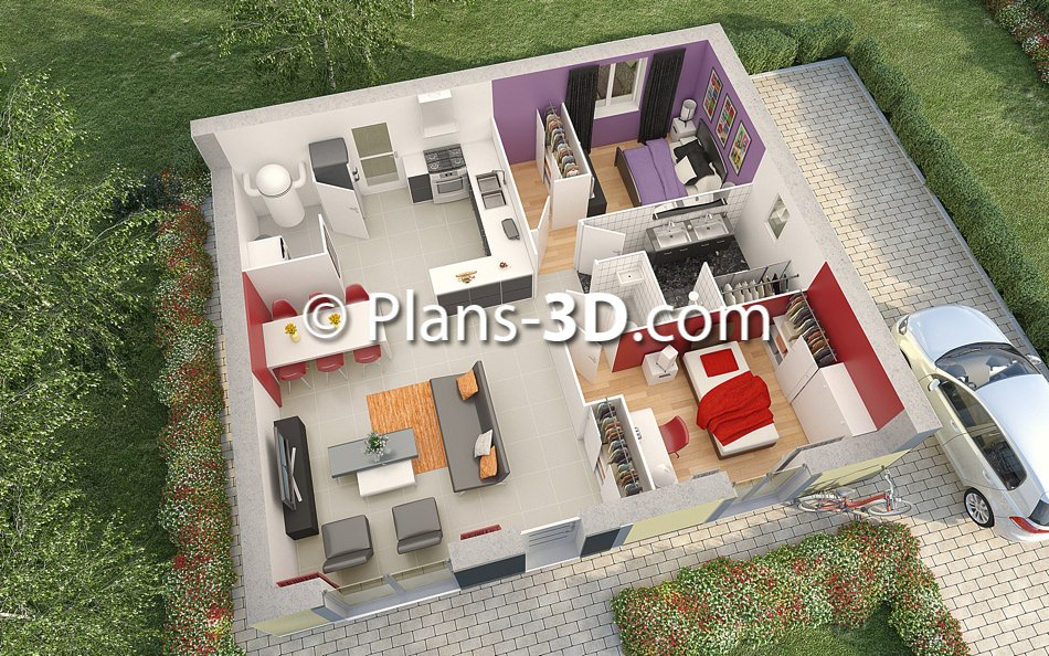 R alisation plan appartement 3d plan maison 3d plans for Plans en 3d