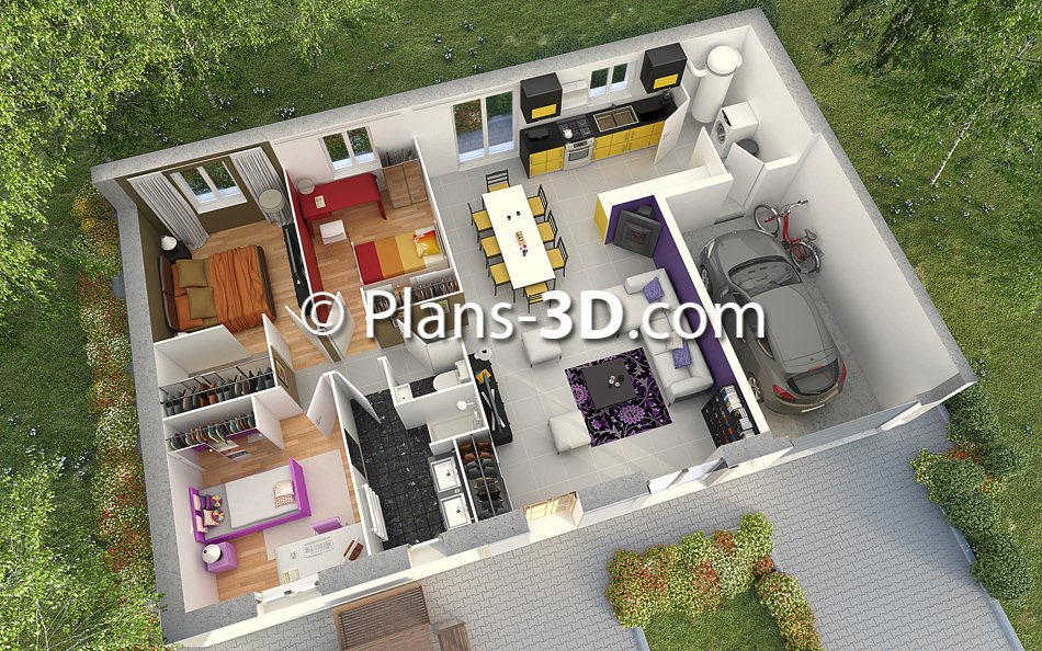 R alisation plan appartement 3d plan maison 3d plans for Plan de maison 3d