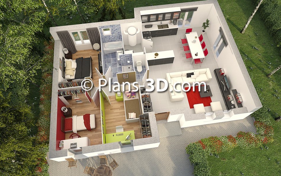 R alisation plan appartement 3d plan maison 3d plans for Plans maison 3d